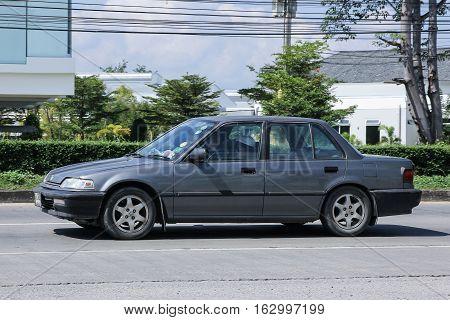 CHIANG MAI THAILAND - NOVEMBER 6 2016: Private Old Car Honda Civic. On road no.1001 8 km from Chiangmai city.