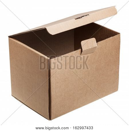 Slightly Open Cardboard Box Isolated On White