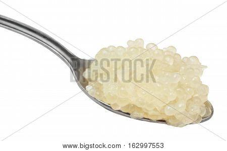 Salty Caviar Of Halibut Fish In Steel Spoon