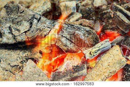 Closeup Of Hot Burning Wood, Coals. Burning Fire Flame