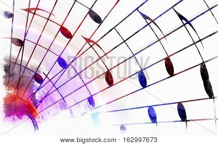 color music notes and color background. Music concept