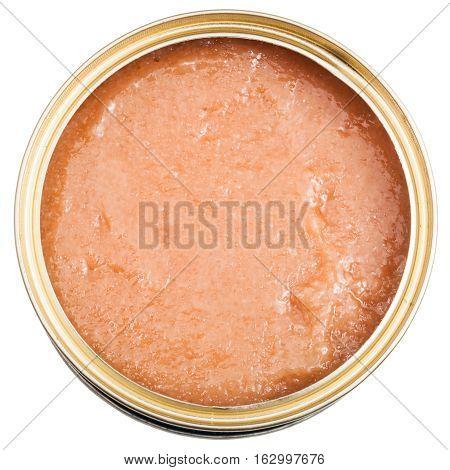 Top View Of Open Tin With Caviar Of Alaska Pollock