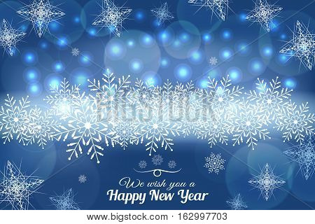 Vector We wish you a Happy New Year abstract blue background with lights and snowflakes.