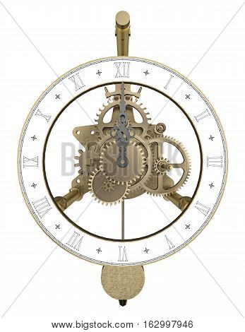 antique brass clock isolated on white 3d rendering