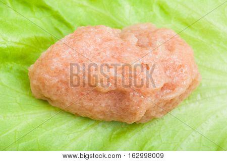 Salty Caviar Of Saffron Cod On Green Leaf