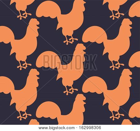 Bright seamless pattern with rooster on the dark background