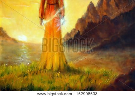 mystical woman goddess in landscape with sunrise, painting detail
