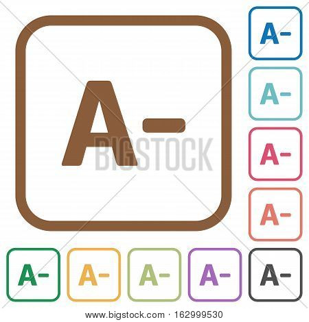 Decrease font size simple icons in color rounded square frames on white background