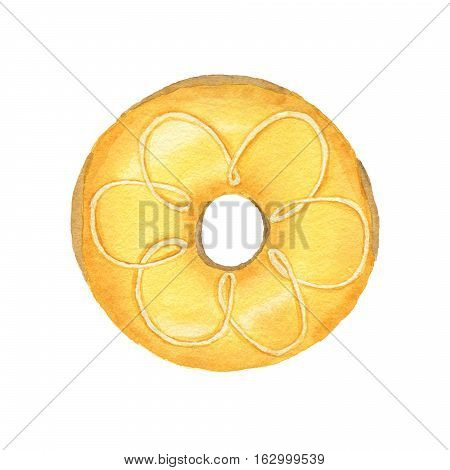 Watercolor Yellow Donut Isolated On White Background.