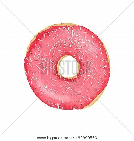 Watercolor Strawberry Donut With Frosting And Sprinkles