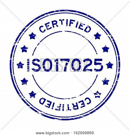 Grunge blue ISO 17025 certified round rubber stamp