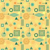 Abstract seamless pattern from geometric form in postmodern Memphis Style blue green on yellow beige for wallpaper or package or for clothes or for creative design abstract city in retro colors poster