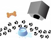 A trail of paw prints through three doggy graphics for your related designs. poster