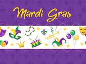 Mardi Gras poster with mask, beads, trumpet, drum, fleur de lis, jester hat, masks, comedy and drama. Mardi Gras Carnival template, flyer, invitation. Fat Tuesday background Vector illustration poster