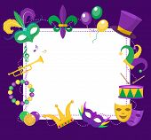 Mardi Gras frame template with space for text. Mardi Gras Carnival poster, flyer, invitation. Party, parade background. Vector illustration poster