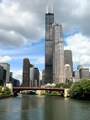 chicago skyline with sears tower, taken from chicago river poster