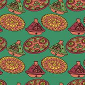 Vector colorful seamless pattern of arabic crockery. Oriental pottery dishes illustration on green background. Moroccan tajine pattern. Eid al Fitr. Ramadan. Eid al-Adha. Nowruz poster