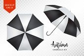 Vector realistic parasol rain umbrella, Sunshade set. black striped , isolated .Blank Classic Round slanted Mock up isolated .Side, top View.illustration object for advertising, poster, banner design. poster
