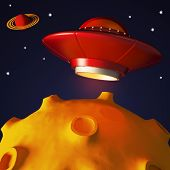 Ufo in space in cartoon style. Retro alien spaceship. 3D rendering poster