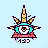 Graphic line art style weed eye leaf triangle vector hipster illustration poster