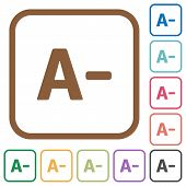 Decrease font size simple icons in color rounded square frames on white background poster