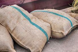 the hemp sacks containing rice and wood background