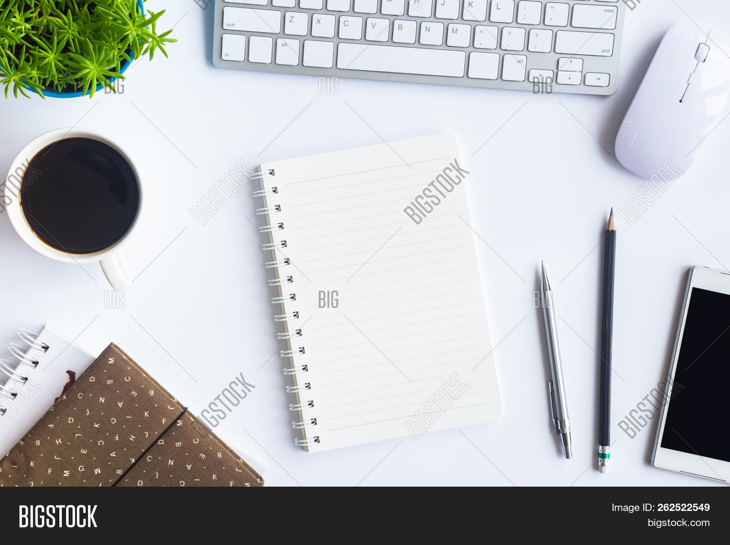 Top View Desk Office Image Photo Free Trial Bigstock
