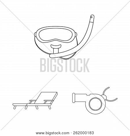 Vector Design Of Pool And Swimming Sign. Collection Of Pool And Activity Stock Vector Illustration.