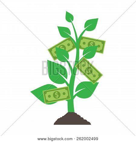 Logo Money Tree Isolated On White Background. Vector Illustration. Eps 10.