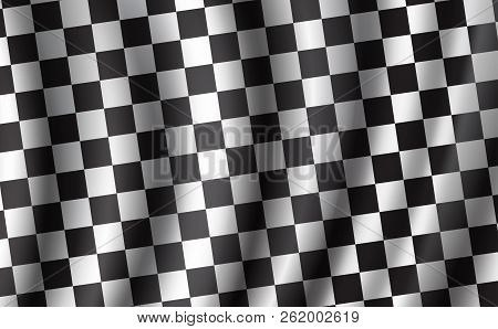 Car Races Or Auto Rally Flag With 3d Wavy Pattern. Vector Checkered Background, Racing Sport Flag Wi