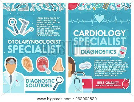 Cardiology And Otolaryngology Medical Clinic. Vector Cardiologist And Otolaryngologist Doctors With