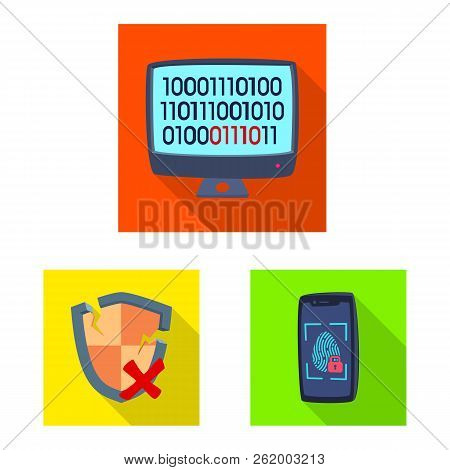 Vector Design Of Virus And Secure Logo. Collection Of Virus And Cyber Vector Icon For Stock.