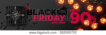 Black Friday Sale Vector Background. Business Promotion Banner With Special Offer Tag. Christmas Sho