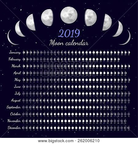 Moon Phases Calendar. Dates For Full, New And Every Phase In Between. Cycles Of The Moon Vector Illu