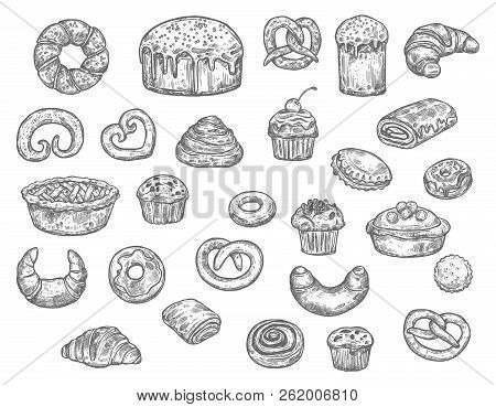 Bread, Buns, Cakes And Pastry Desserts Vector Sketch. Isolated Wheat Bagel, Toast Or Croissant And B
