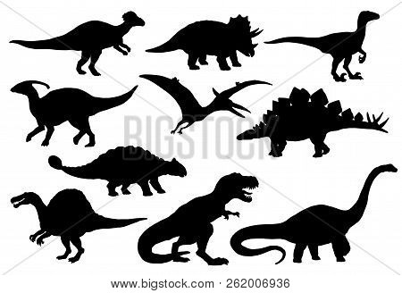 Dinosaurs And Jurassic Dino Monsters Icons. Vector Silhouette Of Triceratops Or T-rex, Brontosaurus