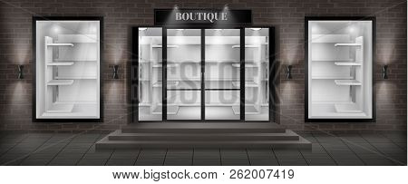 Vector Concept Background, Boutique Shop Facade With Signboard. Storefront With Brick Wall, Entrance