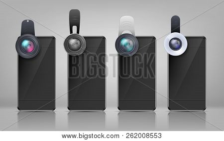 Vector Realistic Mockup, Black Smartphones With Various Clip-on Lenses, Isolated On Background. Mini