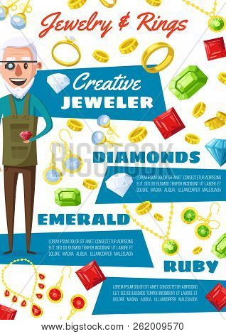Jeweler Profession, Golden Wedding Rings And Diamonds. Vector Cartoon Man Expert In Jewelry With Gem