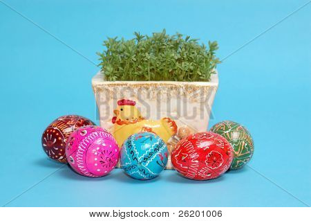 Potted cress and easter eggs over blue background