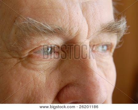 Closeup of senior man eyes