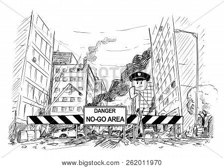 Pen And Ink Sketchy Hand Drawing Of Modern City Street Destroyed By Riot. Road Blocked By Roadblock