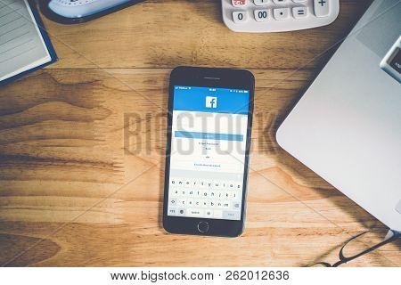Surin, Thailand - Apr 26, 2018: Facebook Social Media App Logo On Log-in, Sign-up Registration Page