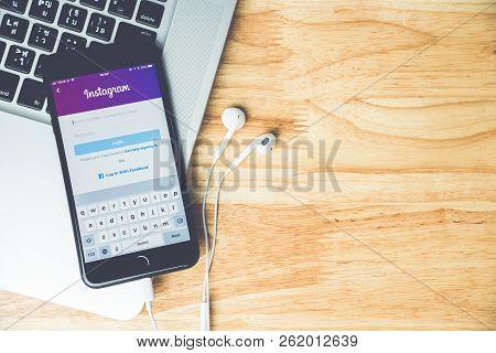 Surin, Thailand - Apr 26, 2018: Instagram Social Media App Logo On Log-in, Sign-up Registration Page