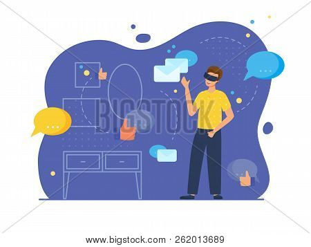 Vr Education And Augmented Reality Scene With Male Character. Man In His Room Wears Virtual Glasses