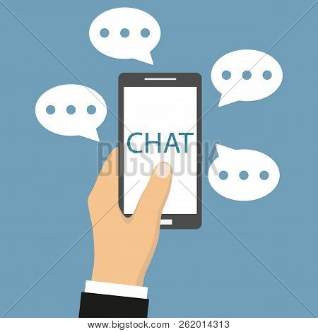 Man Chatting With Chat Bot On Smartphone. Use Smartphone Chat Message For Chat Bot On A Blue Backgro
