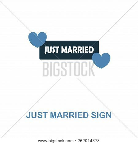 Just Married Sign Icon In Two Color Design. Simple Element Illustration. Just Married Sign Creative