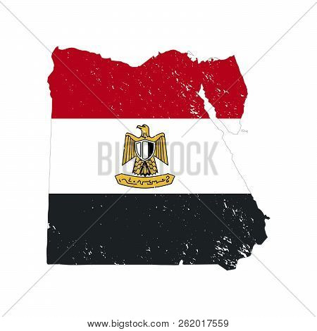 Egypt Country Silhouette With Flag On Background, Isolated On White