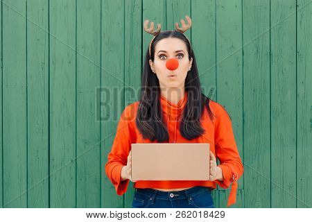 Funny Christmas Delivery Girl Holding Many Packages