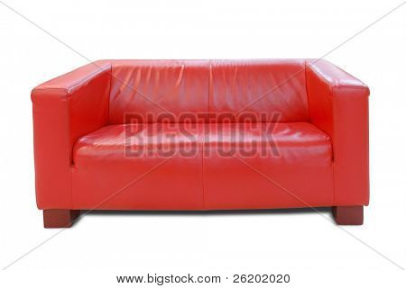 Modern red leather sofa over white background